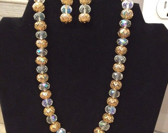 18' Swarovski Crystal Clear AB and Light Topaz AB Necklace FREE Matchung Earrings