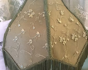 Victorian green lace lamp shade