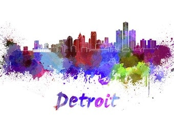 Detroit skyline watercolor canvas, Detroit Canvas Print, Detroit wall art, Canvas Wall Art, Watercolor Skyline, Gift Ideas, Detroit print