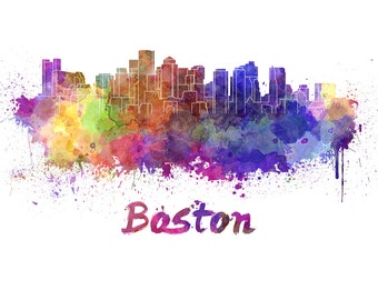 Boston skyline watercolor canvas, Boston Canvas Print, Boston wall art,Boston  Canvas Wall Art, Watercolor Skyline, Gift Ideas, Boston print