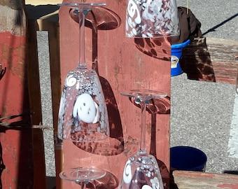 Wine glass holder - barn board