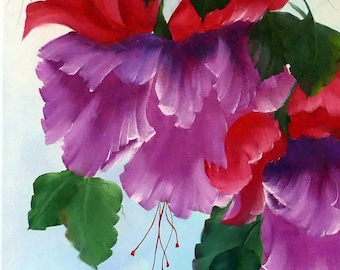 Red and Purple Fuschias; 18x24; Oil on Acrylic