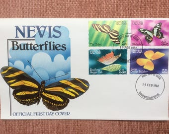 Nevis Butterflies First Day Issue Postage Stamps FDC 1982 Charlestown Nevis Saint Kitts