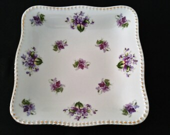 Vintage Staffordshire Violets Candy•Sweets Dish•Purple Violets•Gold Trim Dish•Bone China•English Porcelain•Transferware•Violets Bon Bon Dish