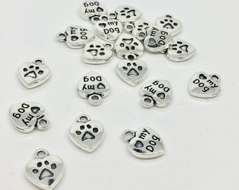 BULK 10 Love My Dog Heart Charms Antique Silver Tone Double Sided Paw Print Dog Lover Charms