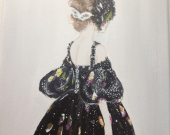 Oil and Acrylic Chanel Haute Couture Fashion Illustration on Canvas