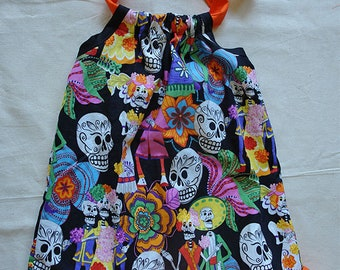 Toddler Dress ~ Colorful Day of the Dead ~ Orange ruffle ~ Size 1/2, 1, 2
