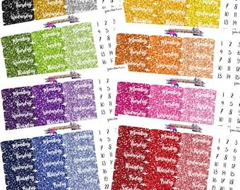 Glitter Date Covers, Date Cover Stickers, Planner Stickers, Date Stickers, Glitter Stickers