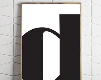 letter printable art, letter download art, letter d printable, letter d download, letter d instant art, letter d modern art