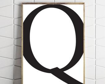 large q print, digital q download, instant download q, subway q art, subway q decor, instant printable art