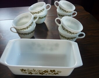Pyrex Spring Blossom Loaf Pan and  8 Teacups