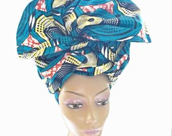African Head Wrap/African Fabric/Ankara Fabric / African Hair Wraps / African Head Wraps / African Head Ties / Ankara Fabric Scarves - TQ12