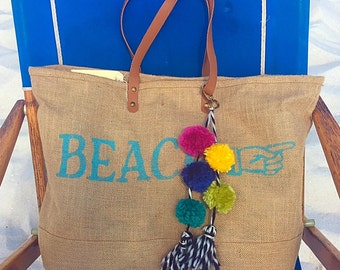 Beach Bag with Yarn Pom Pom Tassel