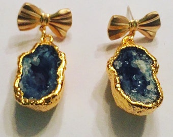Bows and Geodes Earrings