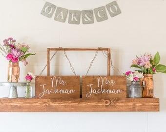Mr & Mrs back-of-the-chair Wedding Signs • Wedding Signs • Wedding Decor • 12x6
