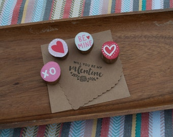 Valentine Magnets // Wood Slice Magnets // Hand Painted Valentine Magnets