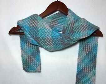 Crochet scarf, crochet neck warmer, neckwear, Long skinny scarf, Crochet argyle, Crochet plaid