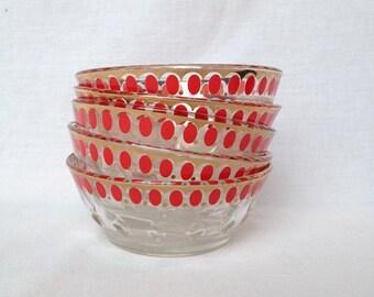 Vintage dessert bowls, set of 5