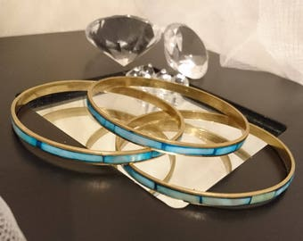 Vintage mother of pearl bangles, blue mother of pearl, inlaid vintage bangles, yellow metal bangles, trio of bangles
