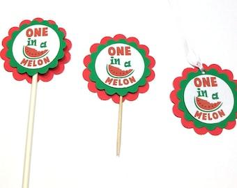 Cupcake toppers 1 dozen, Watermelon cupcake toppers, 1 dozen favor tags, Watermelon favor tags, One in a Melon, Summer, Picnic, Summer theme
