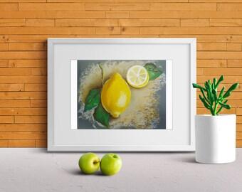 ORIGINAL Soft Pastel Painting, Lemon painting, Soft Pastels Painting Art