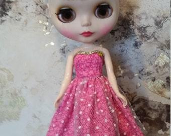 Blythe Dress – Pink Spot – Handmade