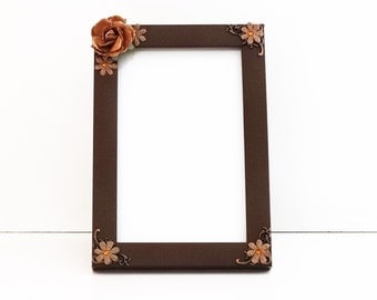 Brown Floral Picture Frame