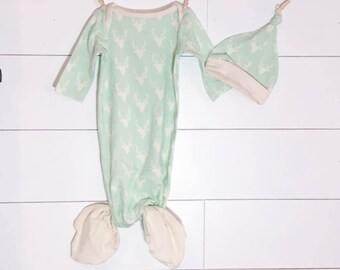 Knotted Newborn Mermaid Gown Mint Deer