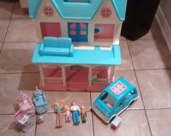 Vintage Fisher Price Dream Doll House  6364 with loving family as well as van and furniture