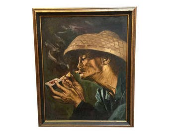 1930s Vintage Chinese Man Oil Painting by Washo Chan