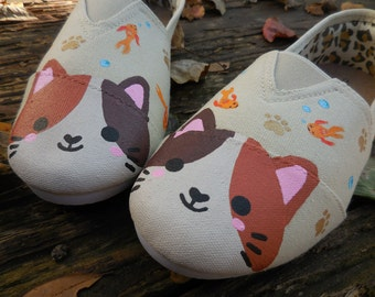 Hand painted shoes. Cat shoes. Kitty shoes. Shoes for women. Women shoes.