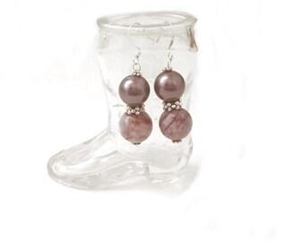 Jasper Gemstone and South Sea Shell Pearl Earrings