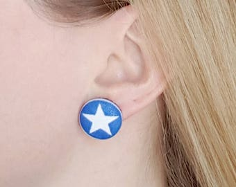 Blue star earrings, surgical steel posts, fabric button earrings, blue white star, button earrings, gift for her, star jewelry, Texas star