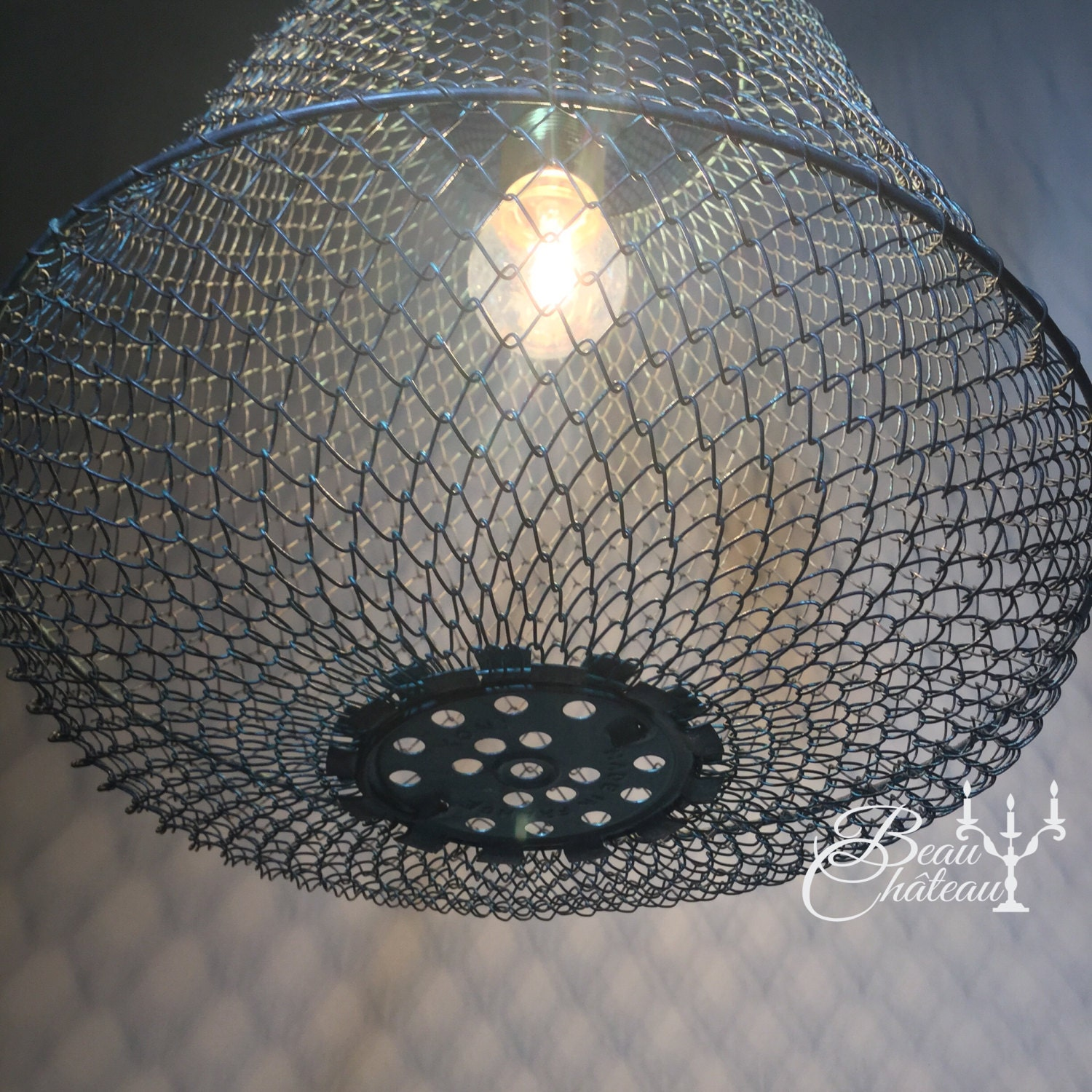 Large Vintage French Fine Metal Mesh Wire Basket Lampshade ...