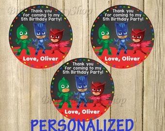 PJ Masks Favor Tag , PJ Masks Birthday , Thank You Tags, Personalized, Digital File