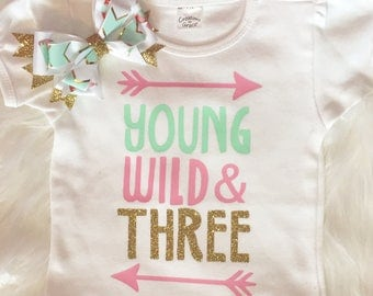 Young wild and three shirt and BOW.