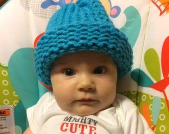 Infant Blue Crochet Beanie Winter Hat