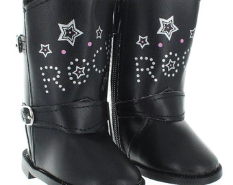 Rock Star Black Boots for 18 inch dolls