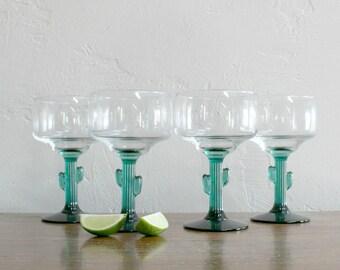 4 Cactus Margarita Glasses, Vintage Margarita Glasses, Large Cocktail Glasses, Cactus Glasses Green Stem, Novelty Barware Party Glasses