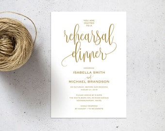 Gold Rehearsal Dinner invitation template, rehearsal printable, invitation templates, wedding rehearsal, instant download, WPC_127