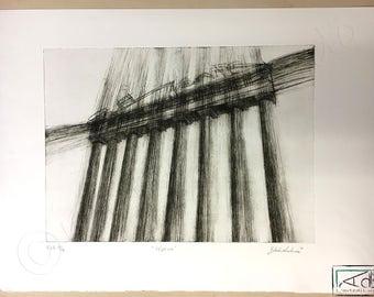 Temple, intaglio printing, printing, engraving