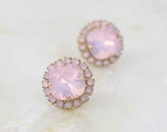 Crystal Bridal earrings, Wedding jewelry, Bridesmaid earrings, Pink opal earrings,  Crystal stud earrings, Swarovski earrings, Pink crystal