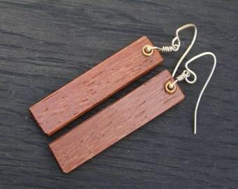 Wood Earrings, Wooden Earrings, Post Earrings, Tribal Earrings, Wood Dangle Earrings