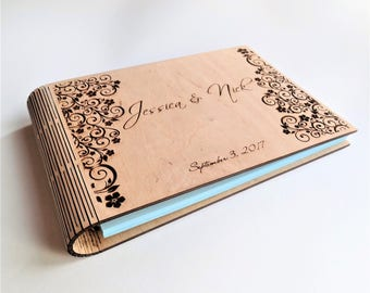 Personalised Guest Book Wooden Guest Book Rustic Guest Book Anniversary Gift Wedding Guest Book Birthday Book Memory Book  Laser Engraved