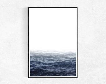 Ocean PRINT, Large Poster, Modern Minimalist, Coastal Print, Scandinavian Wall Art, Seascape Photography, Navy Wall Art