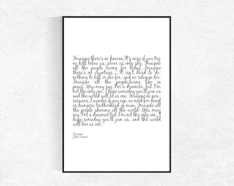 Imagine, John Lennon Lyrics PRINT, Inspirational Art, Modern Minimalist, Music Lyrics, John Lennon Poster, Scandinavian Print, Typography