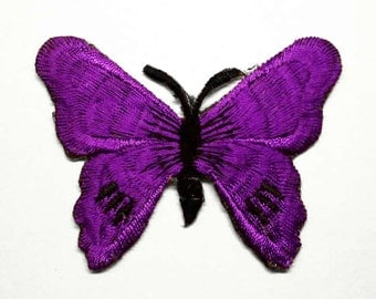Purple Butterfly Iron on or Sew Patch - H326
