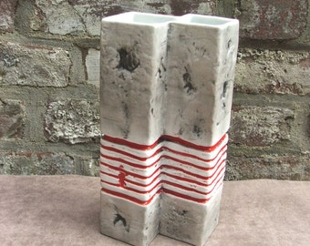 60s 70s white unglazed porcelain vase ruins decor with red and black Gerold Modernist Germany
