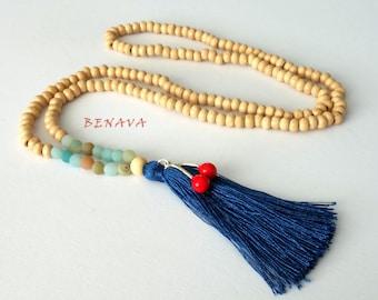 BOHO necklace wooden beads pendant blue tassel