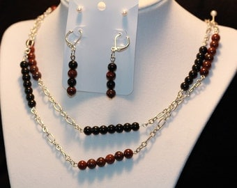 Breccicated Jasper and Obsidian 2 Piece Set--Gem Beads